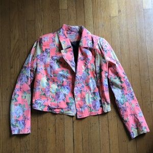 Urban Outfitters Sm Neon Floral Moto Jean Jacket